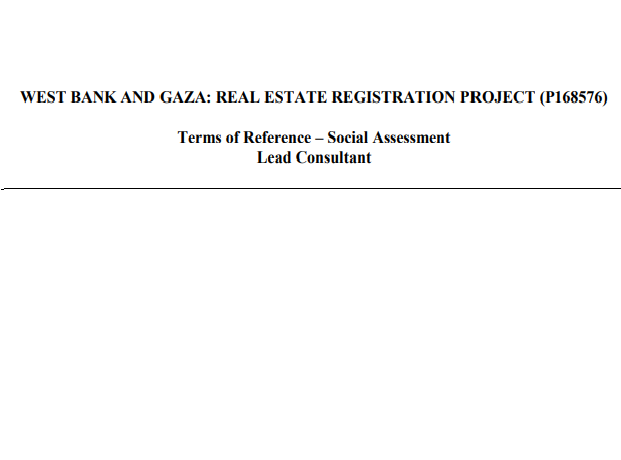 WEST BANK AND GAZA: REAL ESTATE REGISTRATION PROJECT (P168576)
